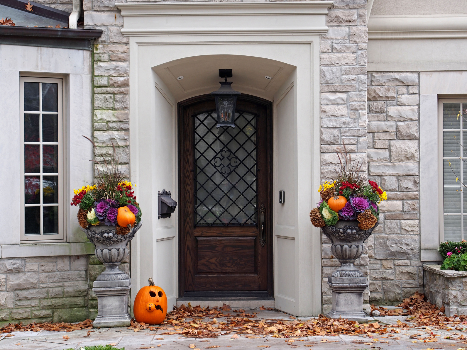 Front door with fall decorations